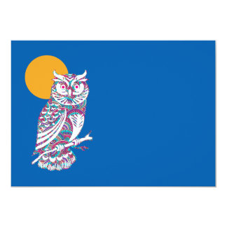Colorful owl and moon card