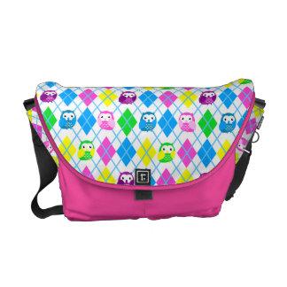 Colorful Owl Argyle Pattern - Candy Messenger Bag