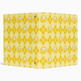 Colorful Owl Argyle Pattern (Yellow) Binder
