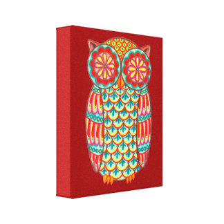 Colorful Owl Art on Canvas - Ready to Hang Canvas Print