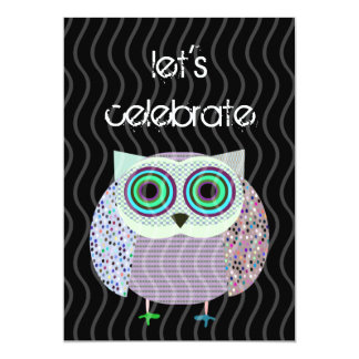 colorful owl birthday invitation party