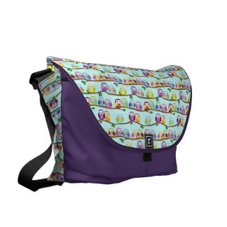 Colorful Owl Branch Pattern Courier Bag