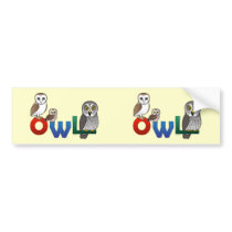 Colorful Owl Bumper Sticker