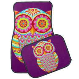 Colorful Owl Car Mats -  Full Set of 4 Mats