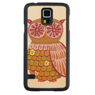 Colorful Owl Carved Maple Galaxy S5 Slim Case