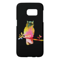 Colorful Owl Cell Phone Cover, black Samsung Galaxy S7 Case