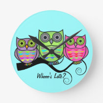 Colorful Owl Clock