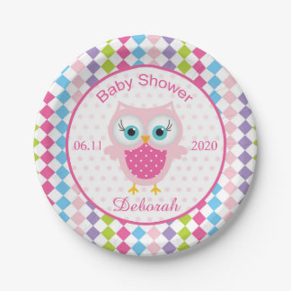 Colorful owl, diamond pattern baby shower Plate