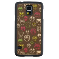 Colorful owl doodle background pattern carved maple galaxy s5 case
