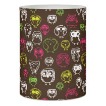 Colorful owl doodle background pattern flameless candle