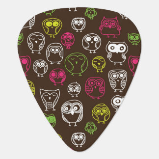 Colorful owl doodle background pattern guitar pick