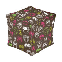 Colorful owl doodle background pattern pouf