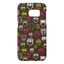 Colorful owl doodle background pattern samsung galaxy s7 case
