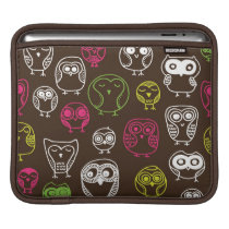 Colorful owl doodle background pattern sleeve for iPads