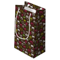 Colorful owl doodle background pattern small gift bag