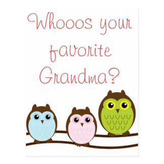 "Colorful Owl ""Grandma"" Loves Grandkids Note Cards Postcard"