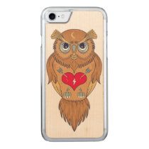 Colorful Owl Illustration Carved iPhone 7 Case
