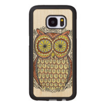 Colorful Owl Illustration Wood Samsung Galaxy S7 Case