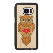 Colorful Owl Illustration Wood Samsung Galaxy S7 Case