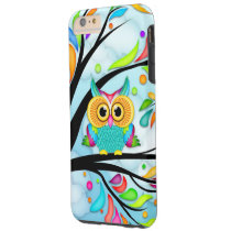 colorful owl in tree iphone case