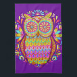 "Colorful Owl Kitchen Towel<br><div class=""desc"">This retro owl kitchen towel features a funky,  detailed drawing of an groovy owl drawn in a folk art style.  This retro owl is the original art of Thaneeya McArdle.</div>"