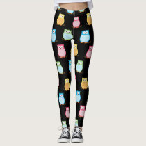 Colorful Owl Leggings | Black Background Color