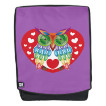 Colorful Owl, Love Backpack