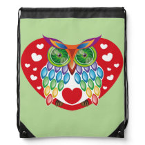 Colorful Owl, Love Drawstring Backpack