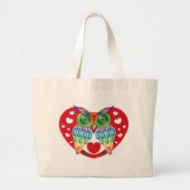 Colorful Owl, Love Large Tote Bag
