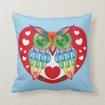 Colorful Owl, Love Throw Pillow