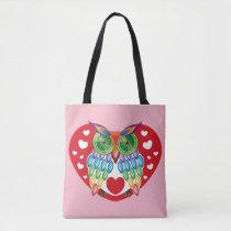 Colorful Owl, Love Tote Bag