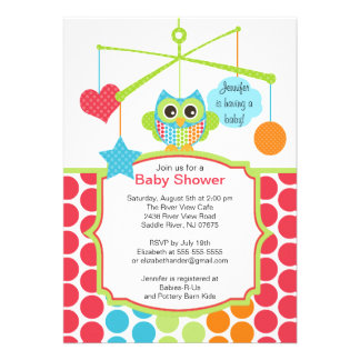 Colorful Owl Mobile Baby Shower Invitations
