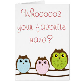 "Colorful Owl ""Nana"" Grandma From Grandkids Card"