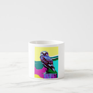 Colorful Owl on a post Posterization Espresso Cup
