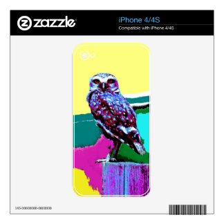Colorful Owl on a post Posterization iPhone 4 Skin