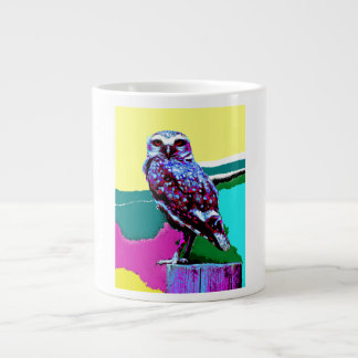 Colorful Owl on a post Posterization Large Coffee Mug