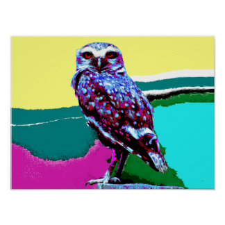 Colorful Owl on a post Posterization Poster