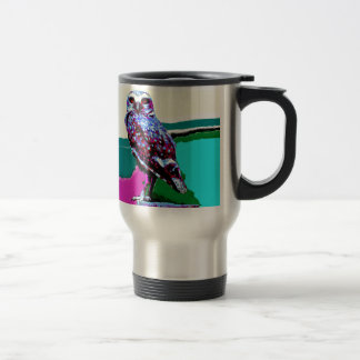 Colorful Owl on a post Posterization Travel Mug