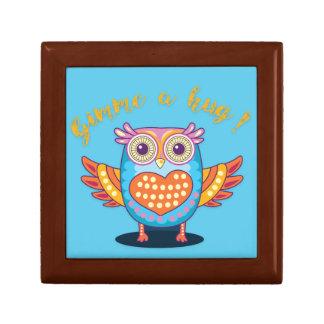 Colorful Owl on Blue Gimme a hug! Giftbox Keepsake Box