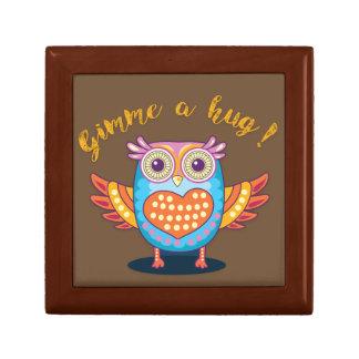 Colorful Owl on Brown Gimme a hug! Giftbox Jewelry Box
