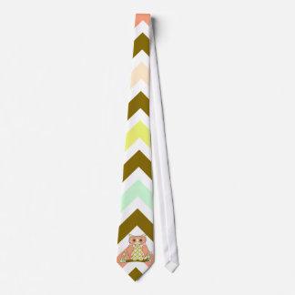 Colorful Owl On Chevron Neck Tie