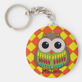 Colorful Owl on Yellow and Orange Checkered Keychain