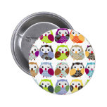 Colorful Owl Pattern 2 Inch Round Button