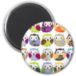 Colorful Owl Pattern 2 Inch Round Magnet