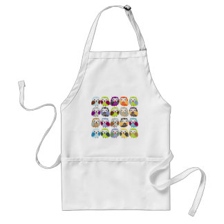 Colorful Owl Pattern Adult Apron