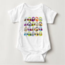 Colorful Owl Pattern Baby Bodysuit