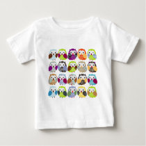 Colorful Owl Pattern Baby T-Shirt