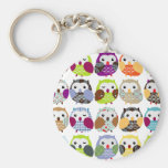 Colorful Owl Pattern Basic Round Button Keychain