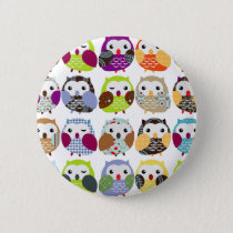 Colorful Owl Pattern Button