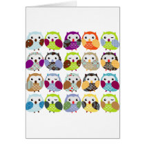 Colorful Owl Pattern Card